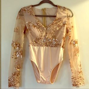 Tops - Rose gold sequin bodysuit with sheer sleeves